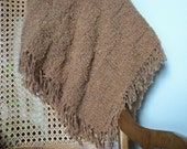 extra soft and fluffy blanket throw, caramel, tan, shearling, camel, hand knit