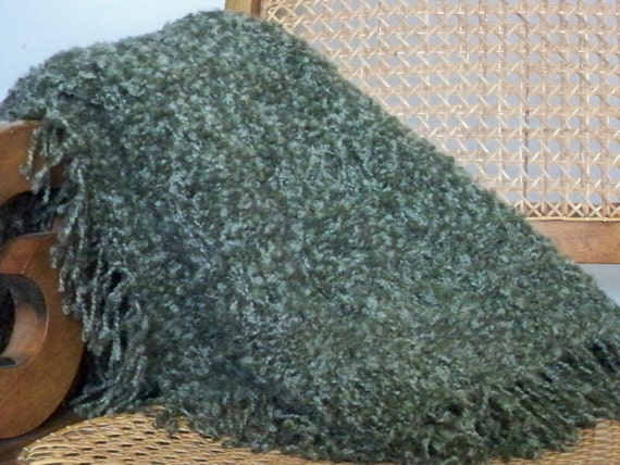Mossy green extra soft blanket throw, hand knit