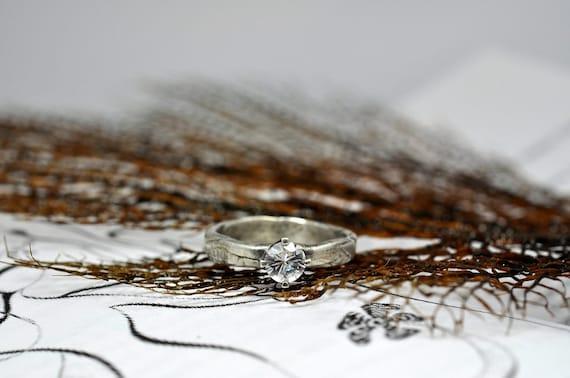 Herkimer Diamond Organically shaped Ring.  Anniversary.  Engagement.  Just because.