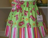 Strawberry Shortcake skirt with fabric flower pin.  Custom order size 1-4. (1T-4T).  Themed Birthday Parties, Christmas Gift