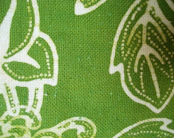 Green Large Flower Fabric, Two Yards Plus 17 Inches