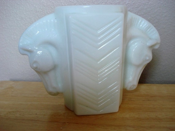 Vintage Art Deco Milk Glass Jar with Horse Head Handles