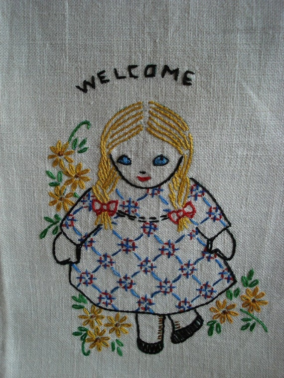 Vintage Embroidered Linen Welcome Towel