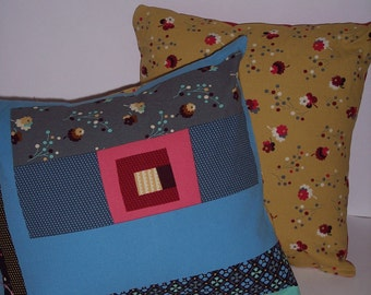 Decorative Log Cabin/Floral Pillow Covers - Set of 2