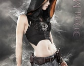 RESERVED for Cyndi Lagerquist: CUSTOM Black Brocade Underbust Vest/Harness w/DETACHABLE Hood (Gold Lining- Size L)