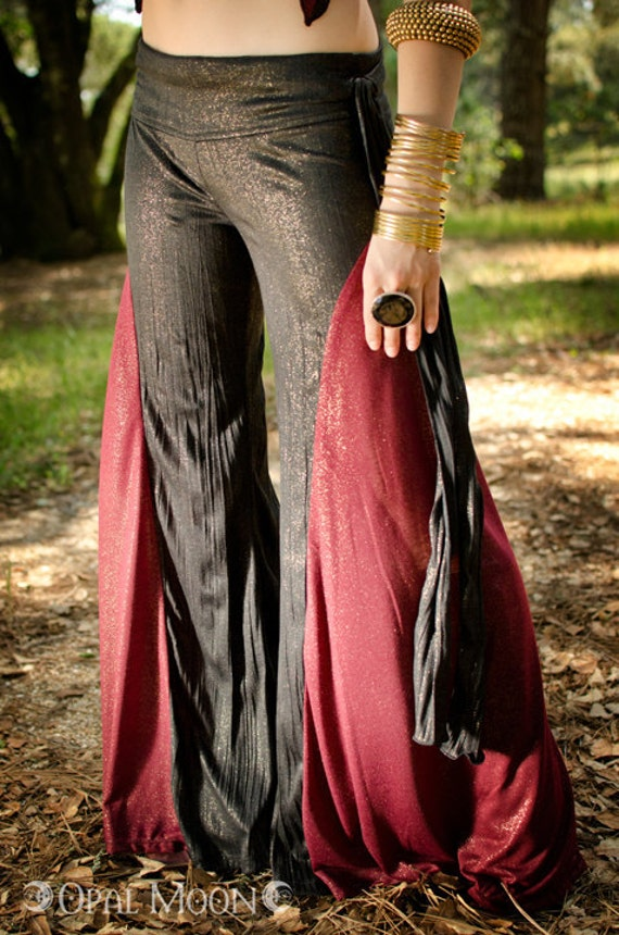 The Crescent Flare Tribal Fusion Belly Dance Pants in Black and Red Sparkle by Opal Moon Designs (Size L)