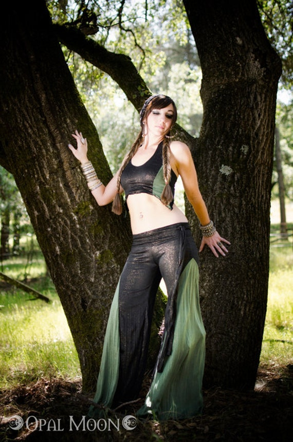 LAST ONE- The Tribal Sci-Fi Sparkle Black & Absinthe Green Crescent Flare Pants and Halter Set by Opal Moon Designs (L)
