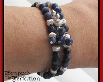 Denim Blue Sodalite & Silver Bracelet / Blue Jeans, Casual Everyday Jewelry / On Sale!