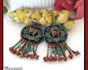 Bead Embroidered Earrings BOHO Verdigris Brass Filigree Copper Butterfly Beaded Fringe Gypsy Bohemian Red Teal Black Dangle