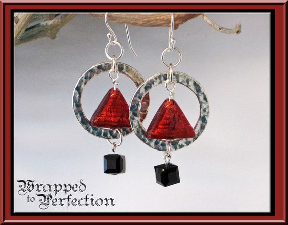 Geometric Earrings RED Venetian Glass Triangle, Black Swarovski Cube & Silver Plate Circle MODERN Math Teacher Abstract