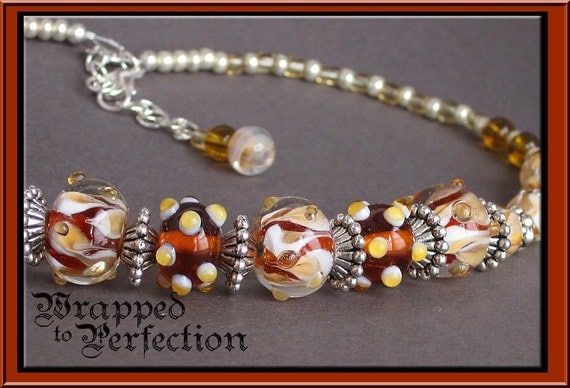 Autumn Necklace / Lampwork Beads Brown, Amber, Honey, Cream / Silver Plate / Adjustable Choker / ON SALE!