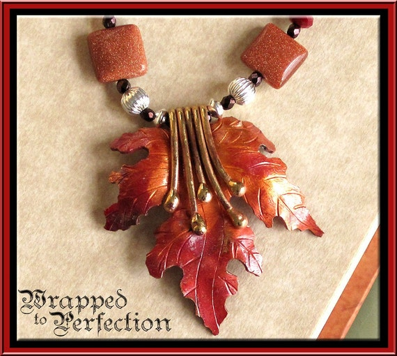 Copper & Brass Necklace with Sterling Silver Clasp / Autumn Leaves, Oak Leaf with Tendrils Pendant Patricia Healey / ON SALE!