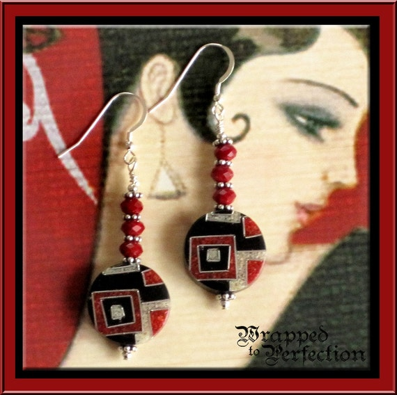 Art Deco Style Earrings ABSTRACT Geometric Black, Red & Silvery Gray Recycled Sawdust Beads Color Blocks
