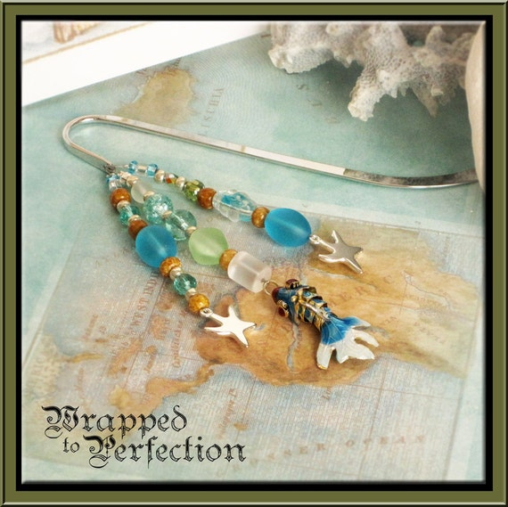 Beach Beaded Bookmark / Articulated Blue Cloisonné Fantail Fish / Starfish Charms / BY THE SEA Sea Series / Sea Glass Green Aqua Turquoise