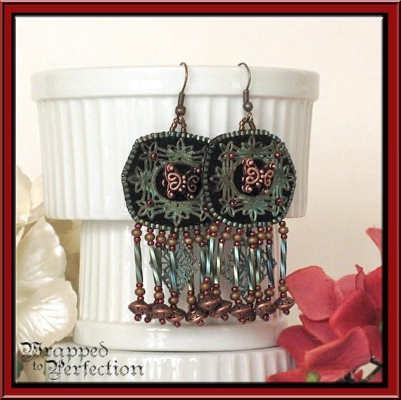 Bead Embroidered Earrings / BOHO Hippie / Verdigris Brass Filigree Copper Butterfly Beaded Fringe Gypsy Bohemian Red Teal Black Dangle