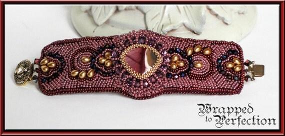 Renaissance Bead Embroidered Cuff / Wedding / Purple Gold Ruby Mauve Royal Blue / Game of Thrones / Renaissance Tudor / Free Ship USA