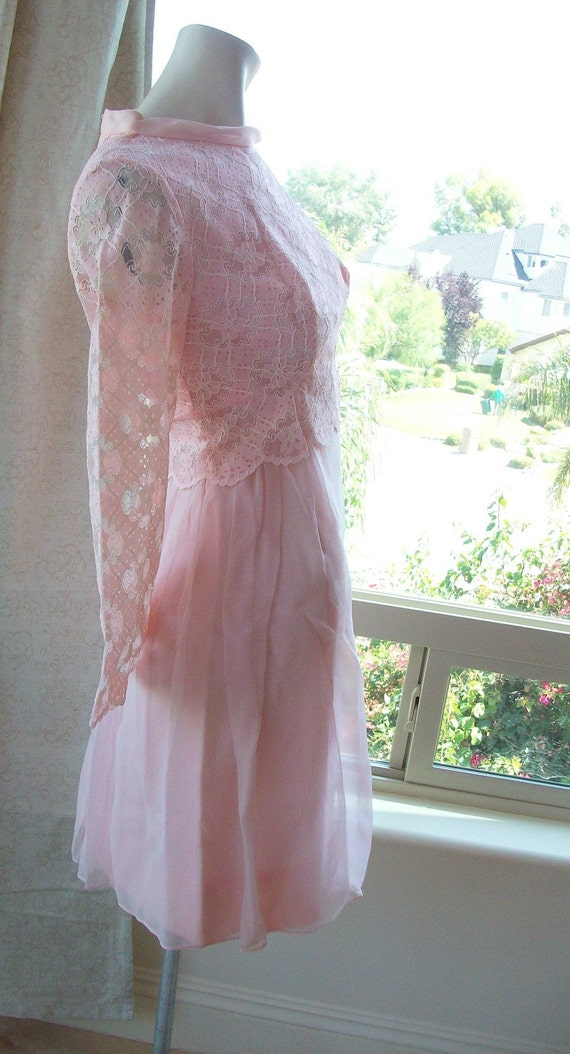 Vintage  1960's Pink Lace Mini Dress Bell Sleeves