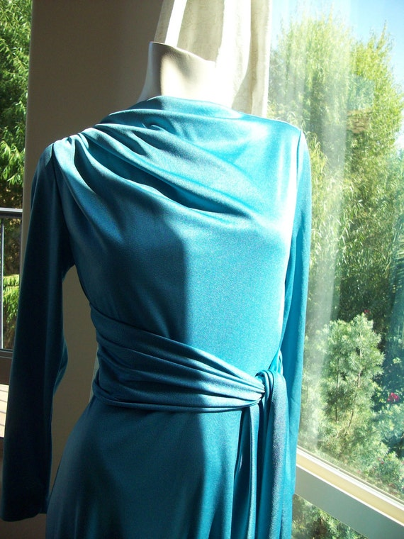 Vintage 1970's Evening Dress Blue Maxi Disco Dress