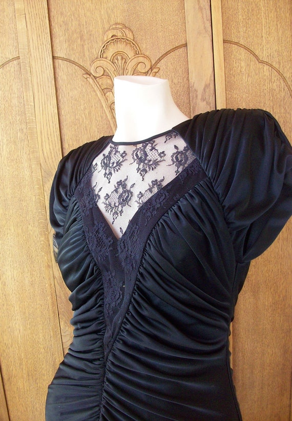 Vintage Disco Dress 1970's Draped Lace Dress