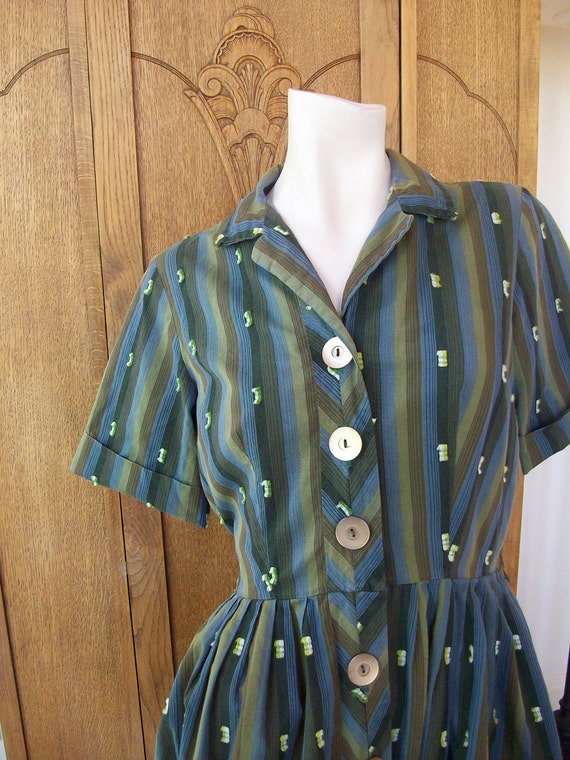 Vintage 1950's Dress Striped Big Button Dress Size Large