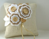 Ring Pillow Rustic Burlap felt flowers beige white wood