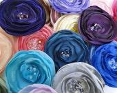 Fabric flower hair pins (2)  Wedding, bridal