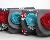 Clutch, Bridesmaids gifts, wedding colors red and aqua