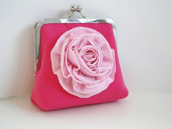 clutch, coin purse, SALE, hot pink, light pink, recycled