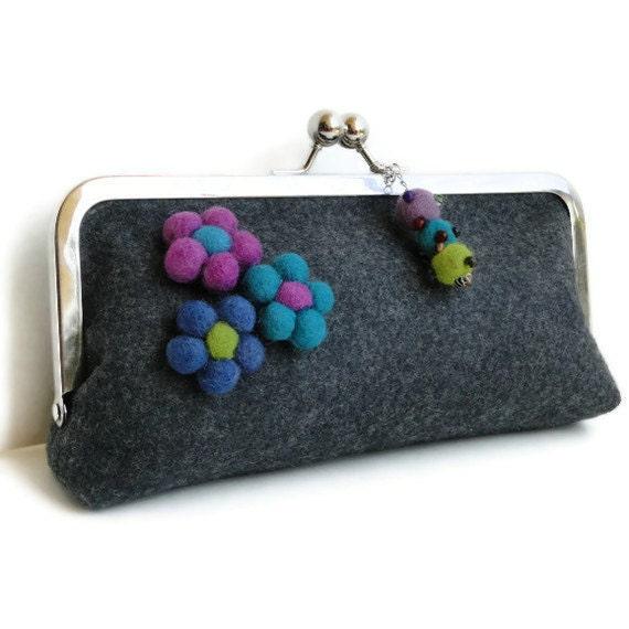 Gray felt clutch, SALE, gray purple felt clutch