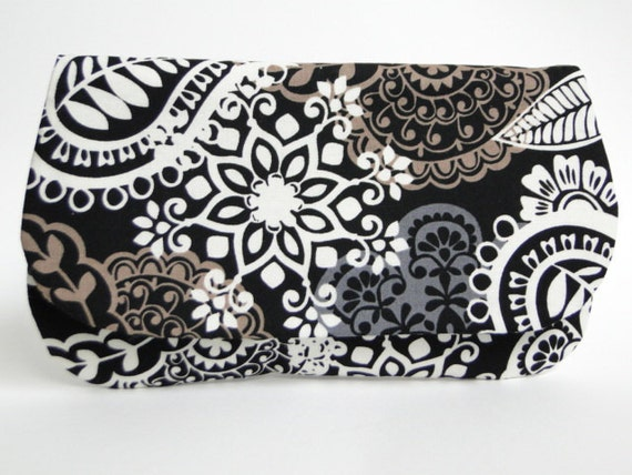 Clutch, Bridesmaids gifts, Special Order for Alyson, brown and black weddings, ivory and black