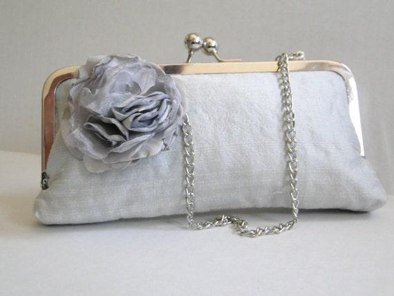 Gray Silk wedding clutch, brides clutch, ruffles, chain handle