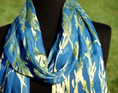 Chartreuse and Ocean Blue Bamboo Pattern Satin Burnout Silk Scarf
