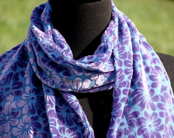 Purple Daisies on a Field of Periwinkle Blue Hand Dyed Burnout Velvet Scarf