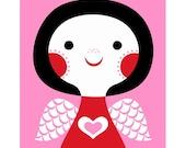Pink Love Angel - 8 by 10 Print