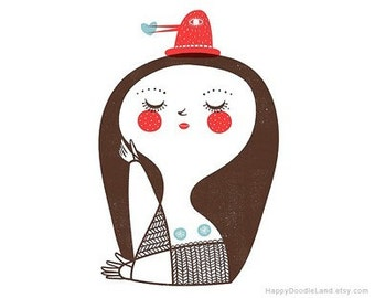 Girl with Bird Hat - 8.5 x 11 Print