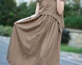 tan colour long linen sundress(more colour and size choice)