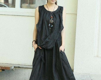 Lazy Day - black linen sleeveless sundress(more colour and size choice)-H38