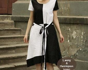 Black wiz white grid short sleeve edition dress(more size choice)-H30
