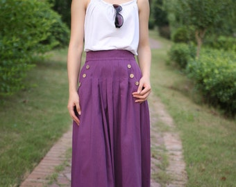purple linen  long skirt(more colour and size choice)-B20