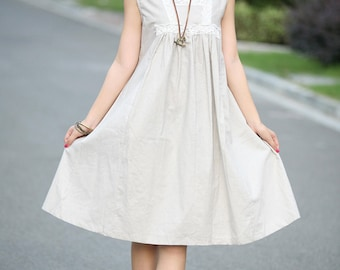 babydoll linen light beige dress(more colour and size choice)-O6