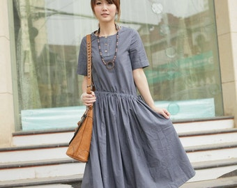 Simple wind-dark grey half sleeve long dress(more colour and size choice)