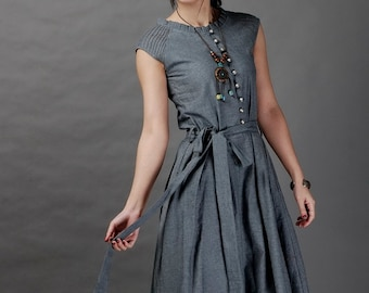 Belong With Me-Dark grey long linen sundress(more colour and size choice)