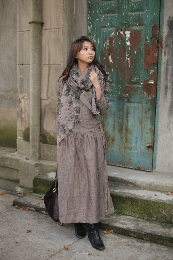 Gray lapel flax long sleeve sundress(more colour and size choice)-V5