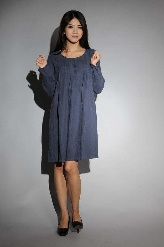 Chic Blue flax sundress(more colour and size choice)-M7