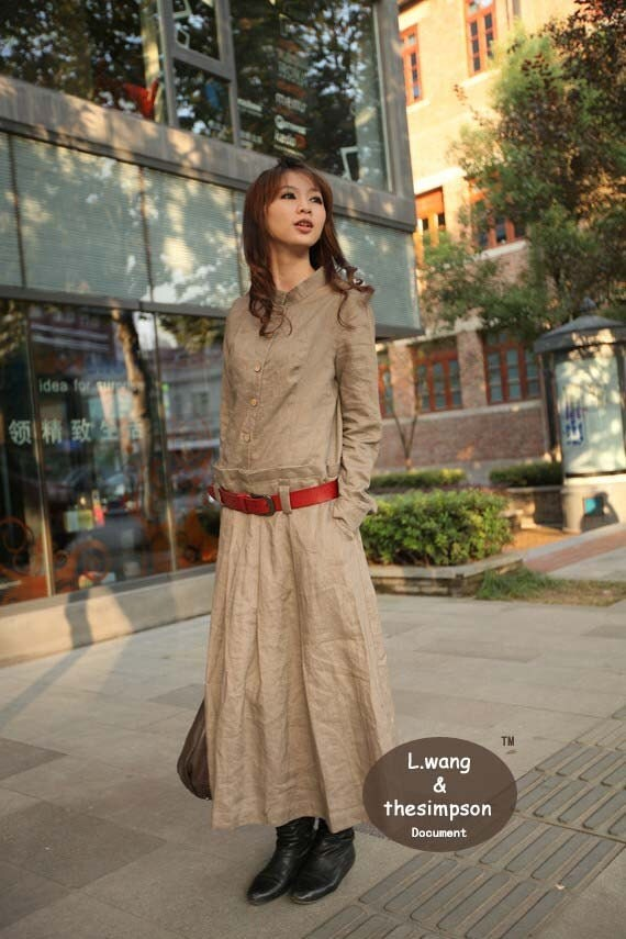 Beige Flax long sleeve sundress(more colour and size choice)-V4