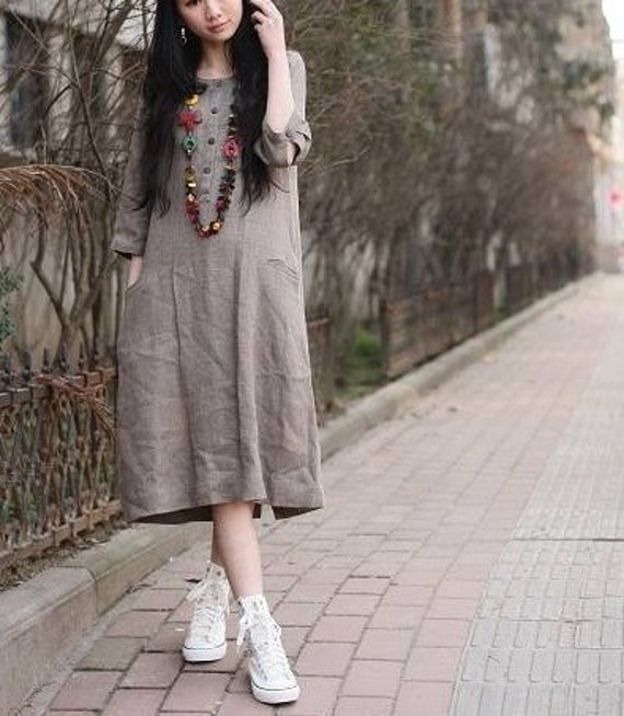 be friendly with U khaki flax sundress (more colour and size choice)-A8