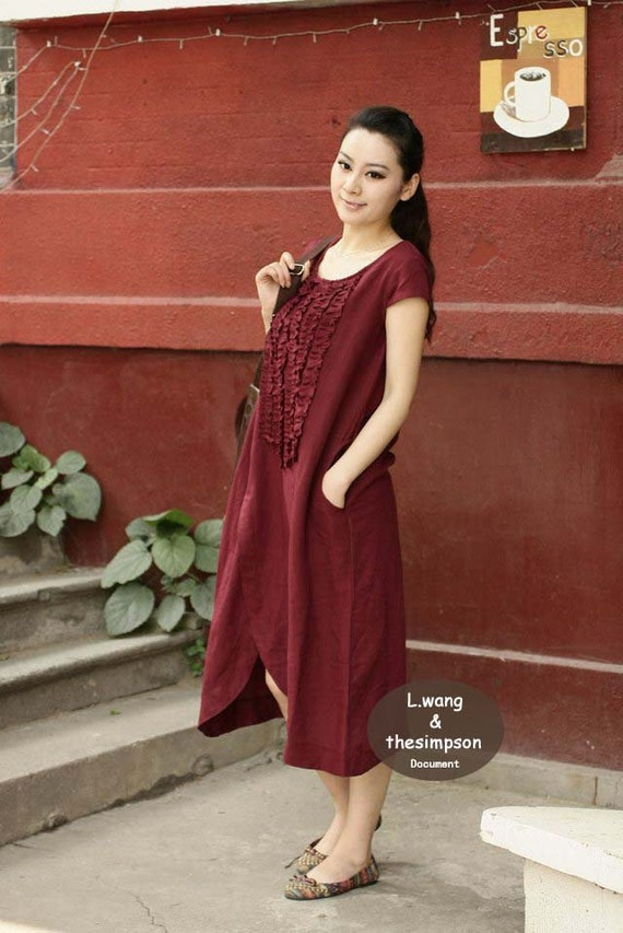 Dark Red drape style linen sundress(more colour and size choice)-H39