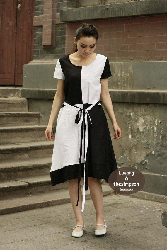Black wiz white grid short sleeve edition dress(more size choice)-H30