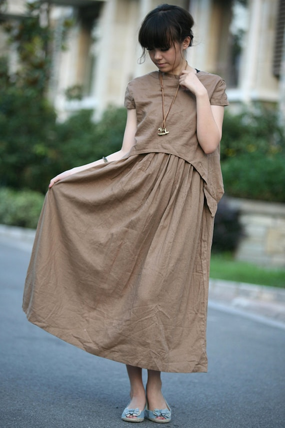 tan colour long linen sundress(more colour and size choice)