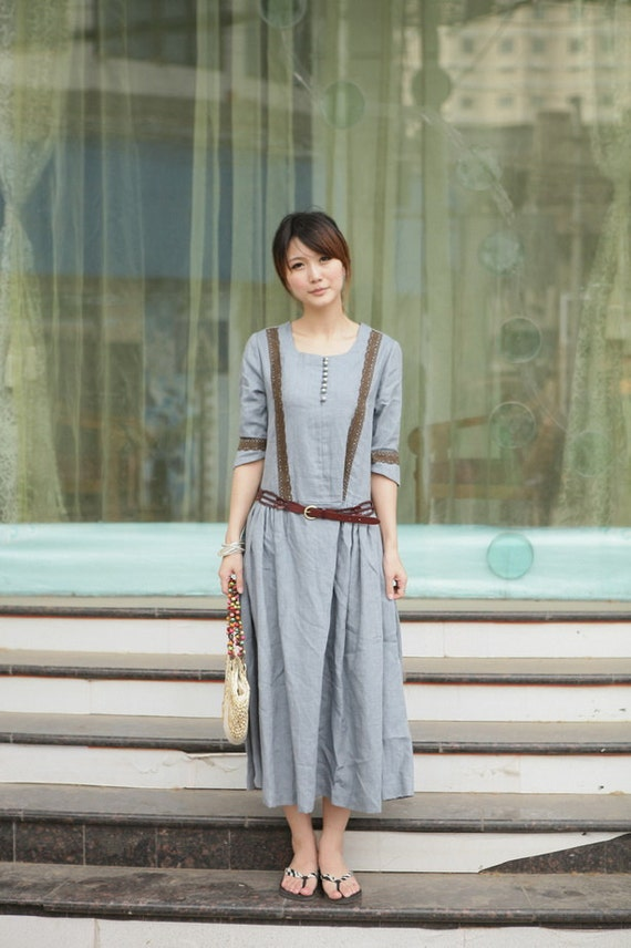 classical pattern grey long sundress(more colour and size choice)